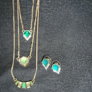 3 Row Necklace and Earrings